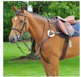 EPONA Horse 5 Point Breastplate Black Stop Sign Stainless Steel_