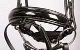 Harry's Horse Bridle Elegant Black Leather With Patent and Embroidery incl. Reins_